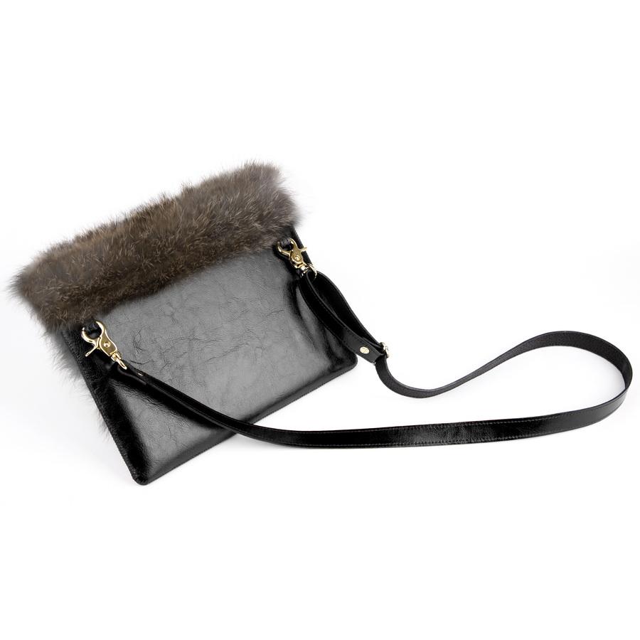 153367168e Kožená listová kabelka MARIMA - čierna - kožené výrobky
