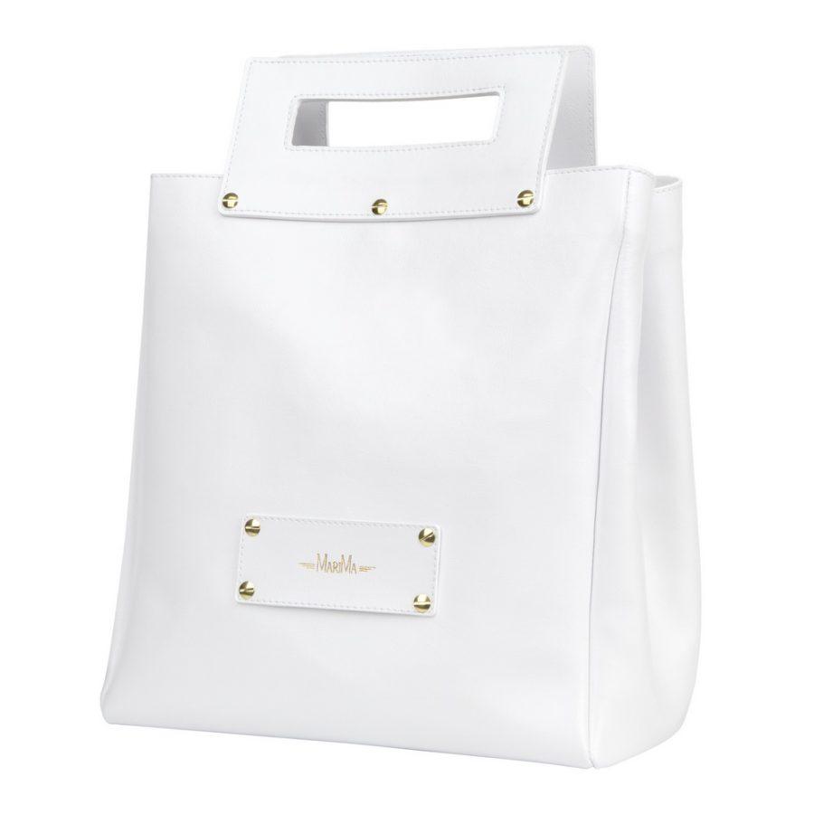 d132badfb9 Dámska kabelka MARATHON z pravej kože - biela - kožené výrobky