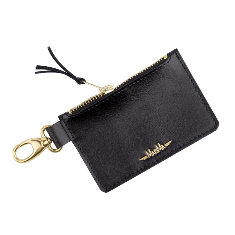 Kľúčenka   peňaženka so zipsom z pravej kože MARATHON - čierna ... 0fa9514d68d